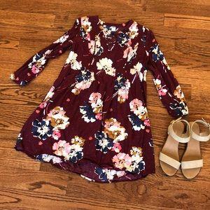 Maroon Long Sleeve Floral Dress